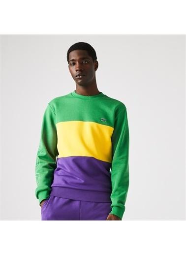 Lacoste Lacoste Erkek Classic Fit Bisiklet Yaka Renk Bloklu Yeşil Sweatshirt Renkli